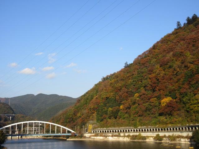 嵐山の紅葉と相模湖大橋