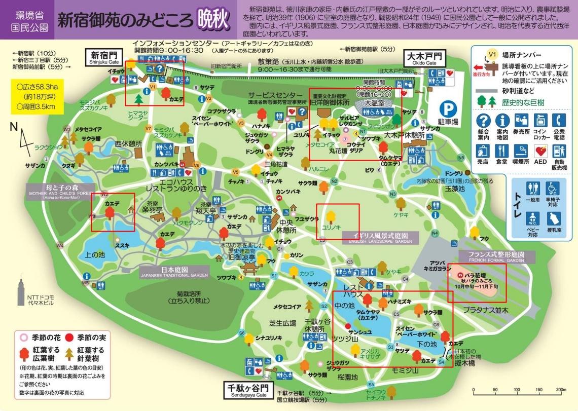 新宿御苑の紅葉マップ