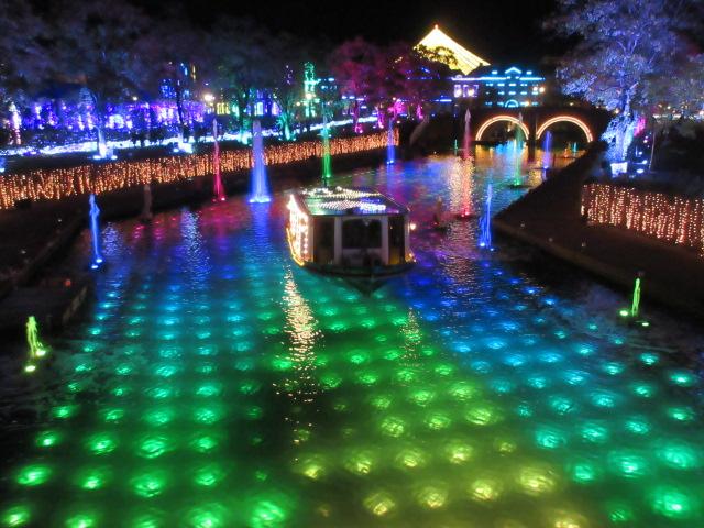 光と噴水の運河