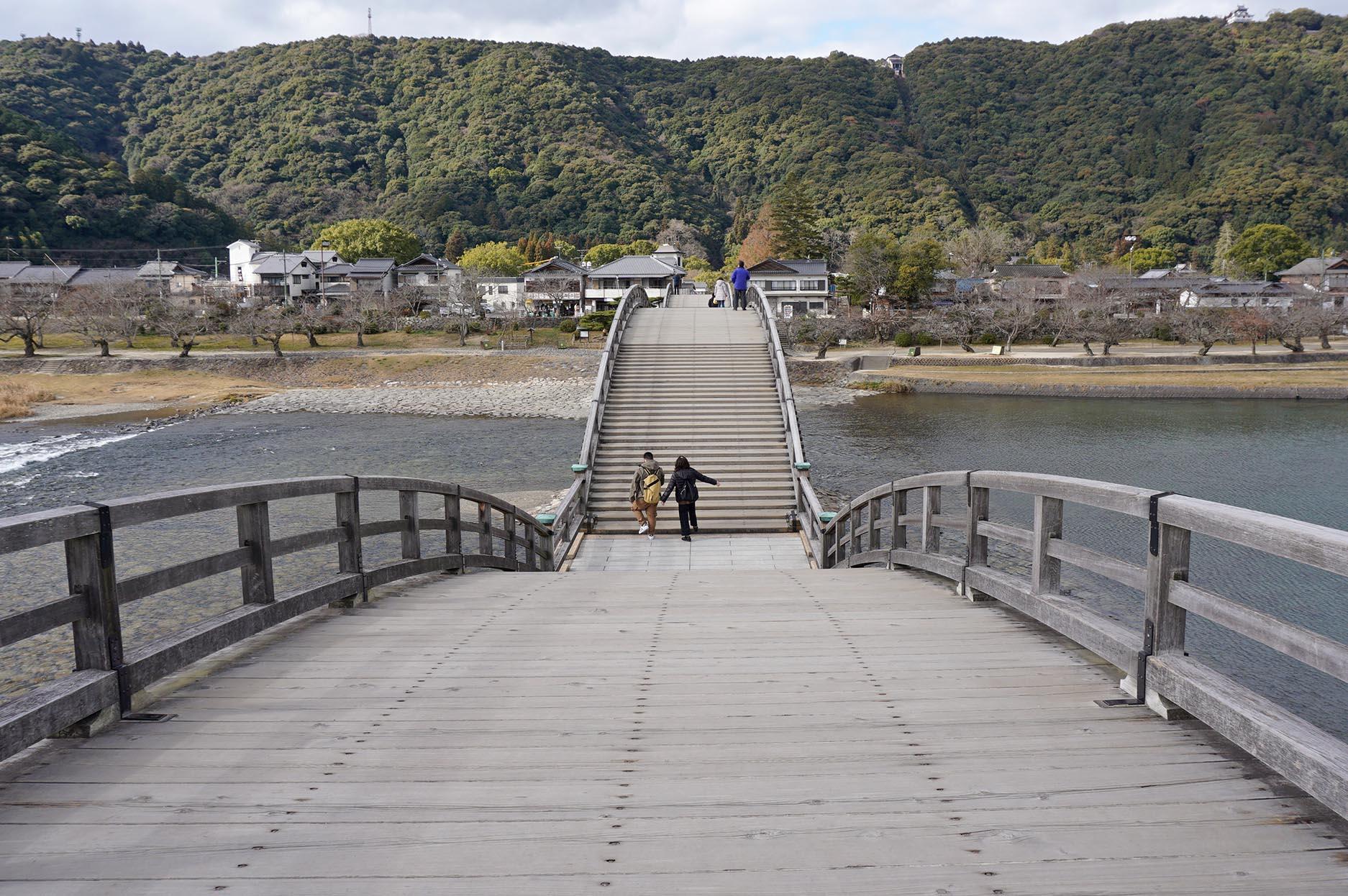 錦帯橋の橋の上