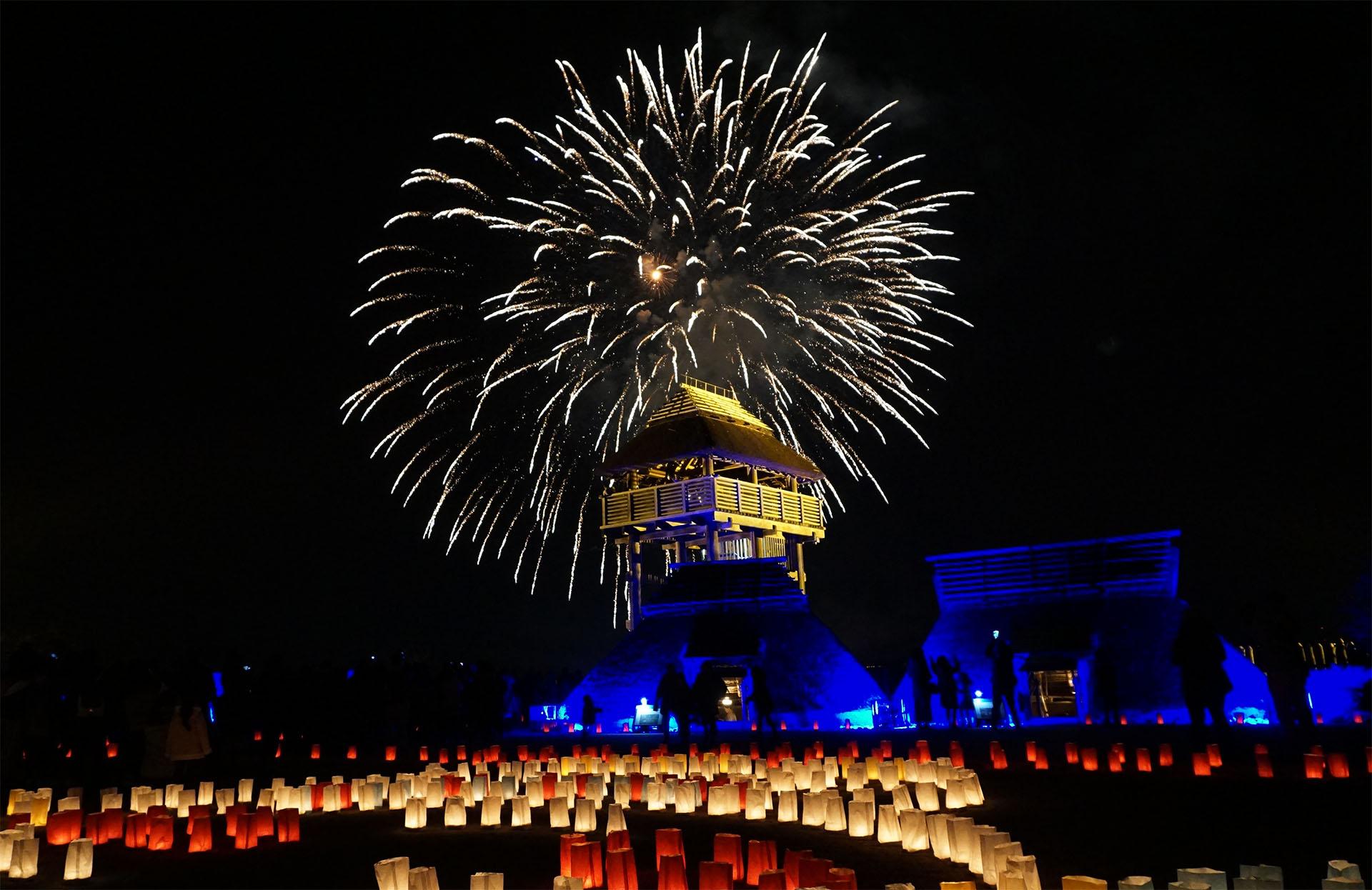吉野ヶ里歴史公園の花火(光の響)