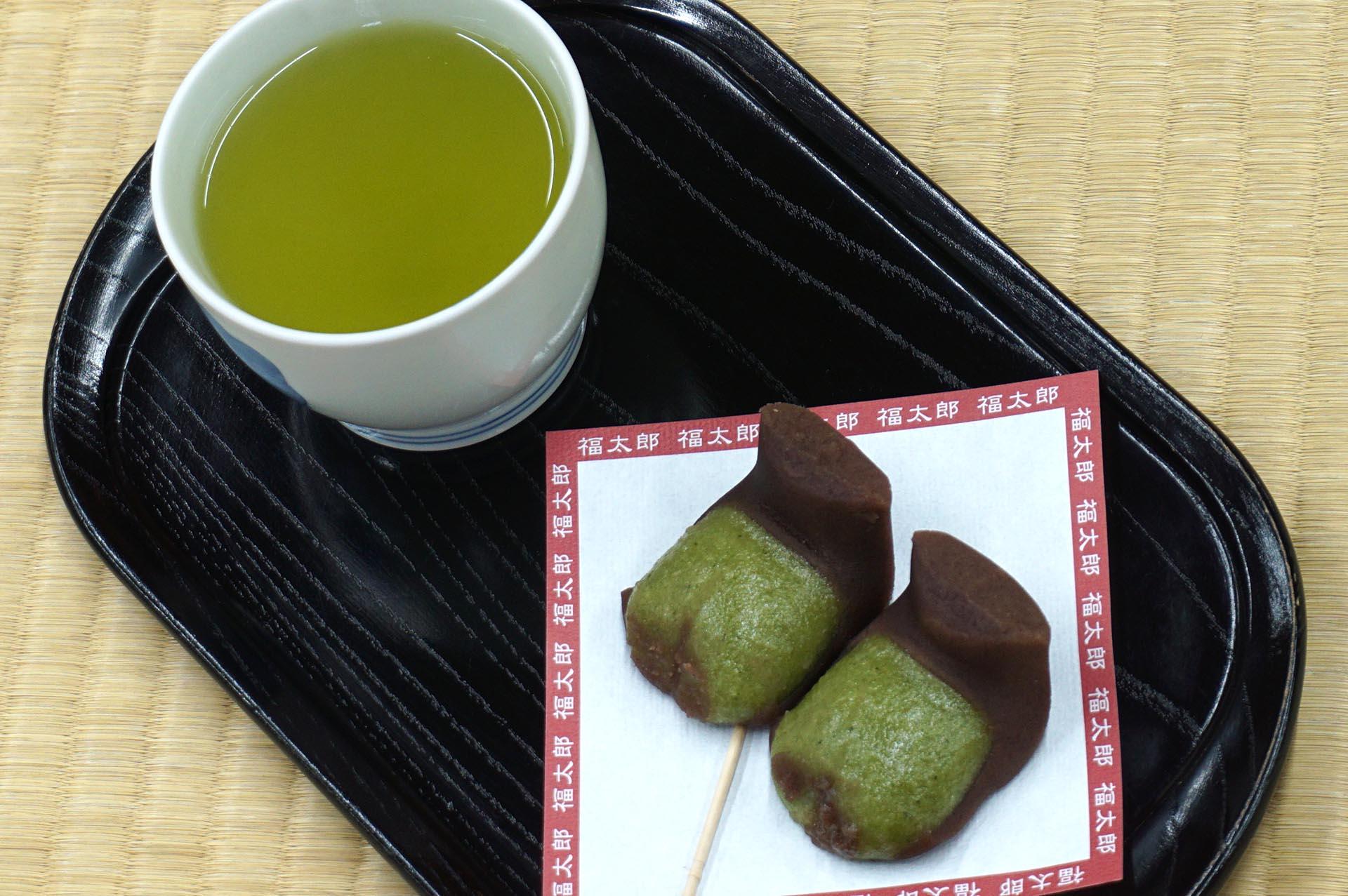 福太郎餅とお茶のセット